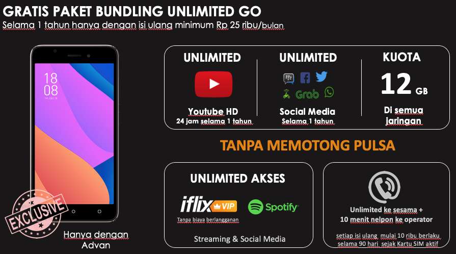 Cara Gratis Nonton Video Youtube dan Akses Sosmed, review Smartohone Advan S50 4G Unlimited, Spesifikasi Advan S50 4G, harga smartphone Advan S50 4G, Kelebihan Advan S50 4G Unlimited Smartphone
