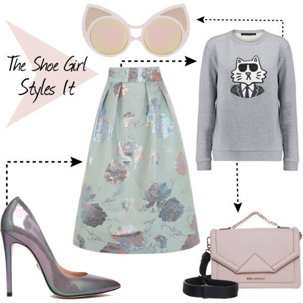 Polyvore outfit set for Supertrash Peekaboo shoes worn with Coast mint skirt, Karl Lagerfeld sweatshirt and bag and Linda Farrow sunglasses
