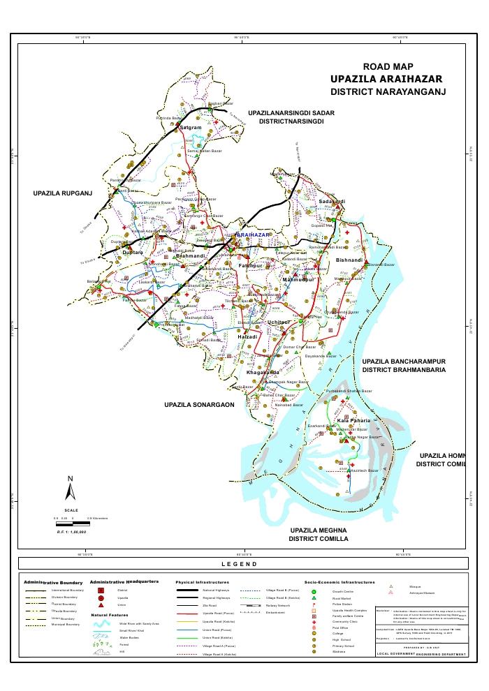 Araihazar Upazila Road Map Narayanganj District Bangladesh