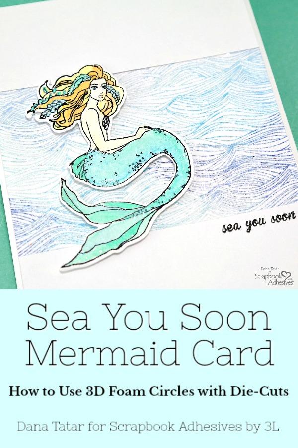 Embossed Waves Card with Stamped Watercolor Mermaid