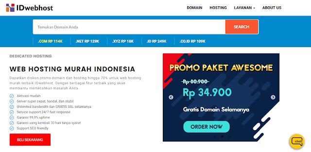 harga paket hosting murah terbaik IDWebhost