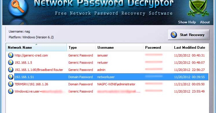 network password decryptor v6 0 windows network password recovery tool kitploit. Black Bedroom Furniture Sets. Home Design Ideas