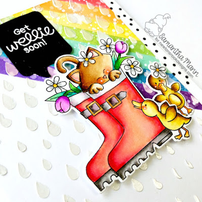 Get Wellie Soon Card by Samantha Mann for Newton's Nook Designs, Get Well Card, Cards, handmade cards, rainbow, distress inks, ink blending, embossing paste, stencil, #newtonsnook #getwell #cards #getwellcard #rainbow #distressinks #inkblending