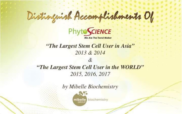 The Largest Stem Cell User in The World 2015, 2016, 2017 by Mibelle Biochemistry