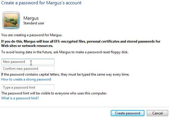 Windows Vista, créez un mot de passe pour un compte. Tapez le nouveau mot de passe dans deux premières cases. Ensuite, tapez un indice de mot de passe dans la troisième case. Cliquez sur 'Créer un mot de passe'.