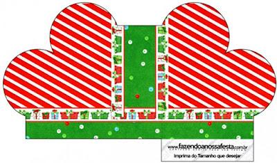 Caja abierta en forma de corazón de Navidad a Rayas.
