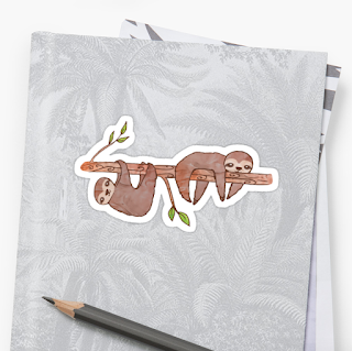 Baby Sloth Drawing Stickers