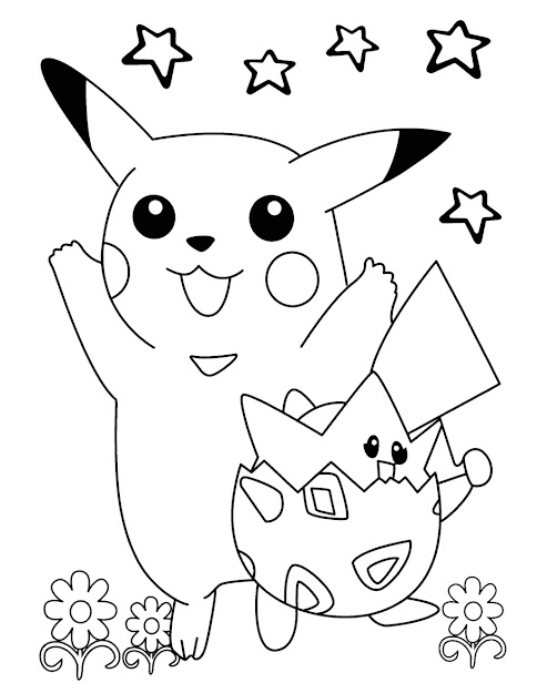 Pikachu And Togepi Pokemon Coloring Pages For Kids Online