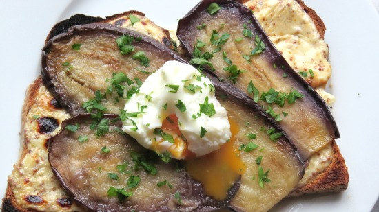 Aubergine with Ale Rarebit and Poached Egg