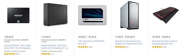 Top 15 ofertas en componentes y periféricos Corsair y almacenamiento SanDisk, Samsung, Crucial y Seagate