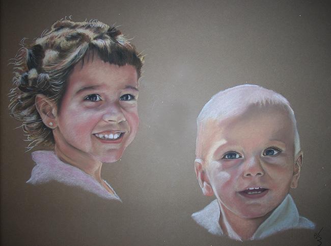 Retrato de dos niños