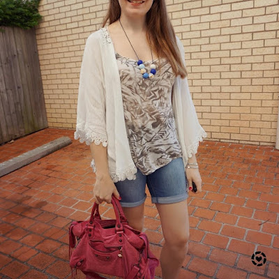 awayfromblue instagram crochet kimono printed sass bide tank bermuda denim shorts