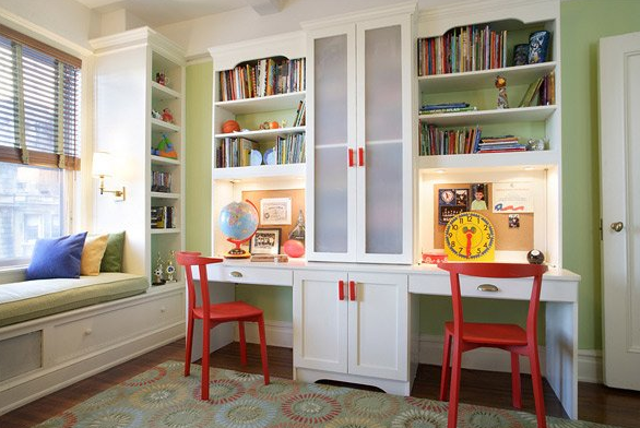 Build cabinets and shelves that serves as the storage of books and some things used to study.