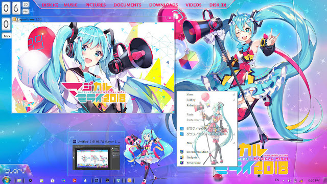 Windows 7 Theme Magical Mirai 2018 by Enji Riz Lazuardi