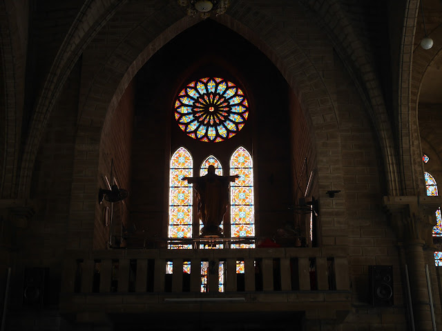 the rose window and statue of Jesus at Nha Trang Cathedral