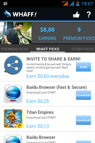 Cara Mendapat Dollar dari HP Android Aplikasi Whaff