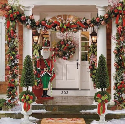 pretty ,Christmas, front porch, decoration