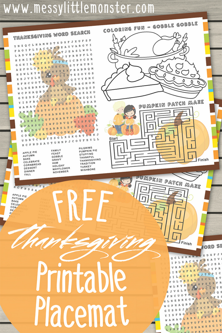 Free printable Thanksgiving colouring page and activities. Printable placemats for kids. Thanksgiving craft.