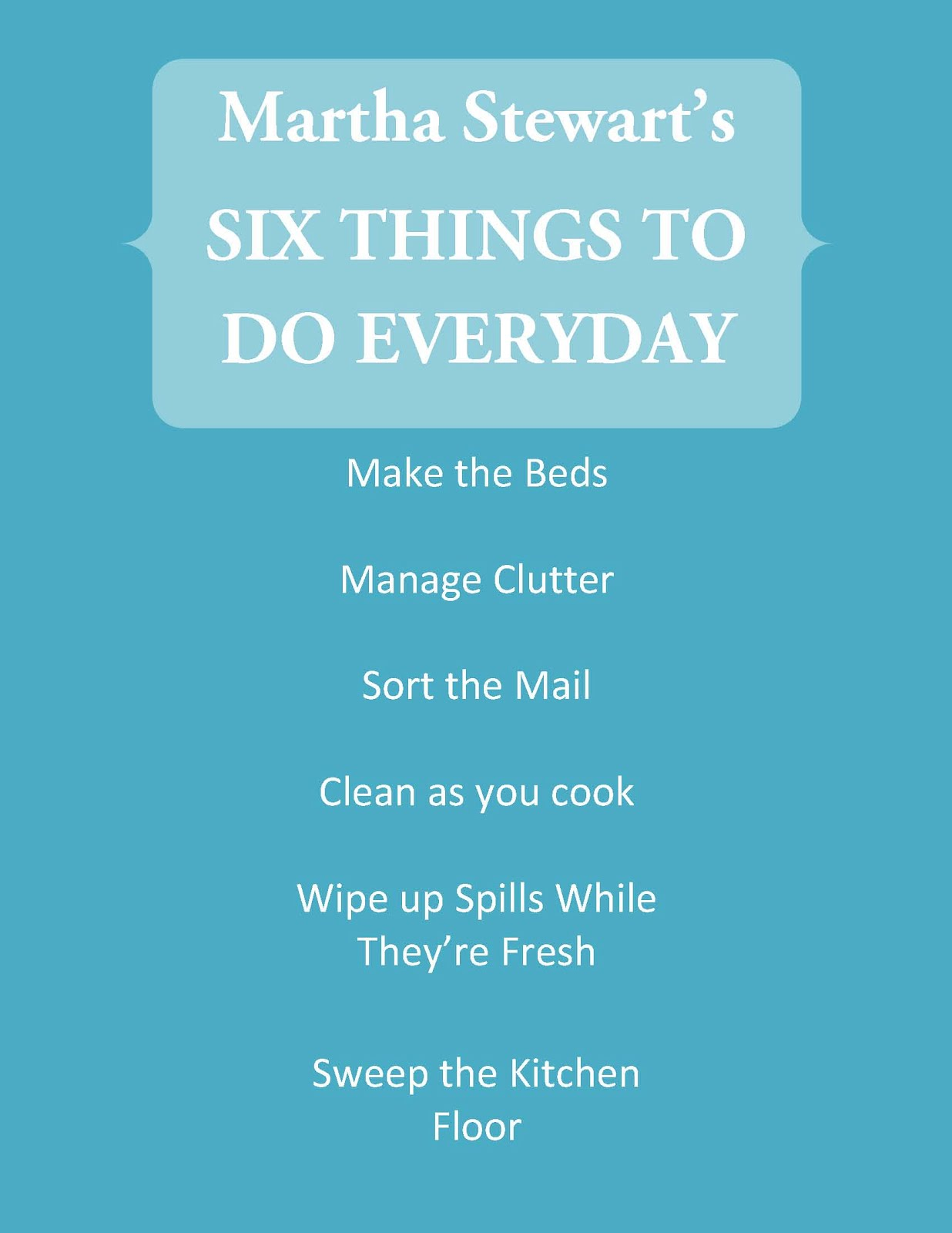 HomeKeeping For All: Cleaning Routine: 6 Things To Do Everyday
