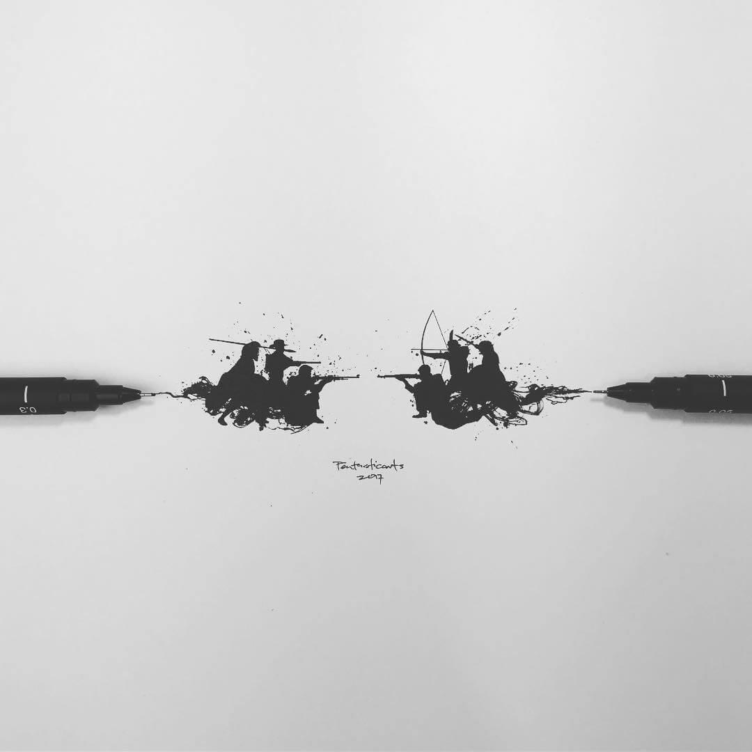 03-Divide-Joseph-Catimbang-Black-and-white-Ink-Graphic-Design-Art-www-designstack-co