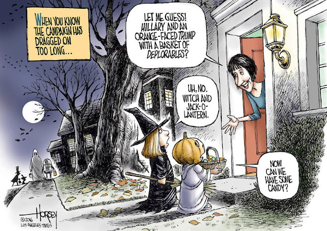 Title:  When you know the campaign has dragged on too long.   Image:  Woman opens the door to two trick-or-treaters and says,