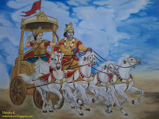 bhagavad gita mahabharata oil painting by nimisha k