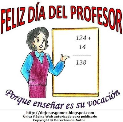 Dibujo de una profesora alusvio al Día del profesor pintado a colores  (Profesora o Maestra de matemáticas en su pizarra). Dibujo hecho por Jesus Gómez