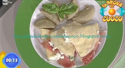 Finta piadina culatello e primo sale con crema di melanzane ricetta Bertol da Prova del Cuoco