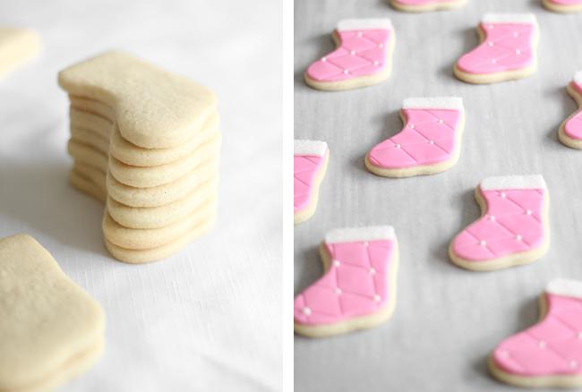 Double Vanilla Pink Stocking Sugar Cookies Sprinkle Bakes