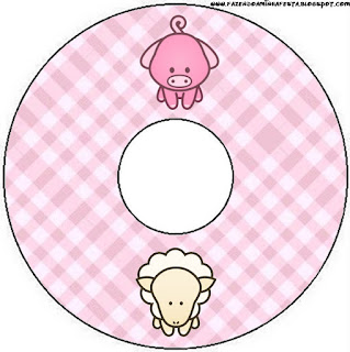 Etiquetas de La Granja Bebés en Rosa para CD's.