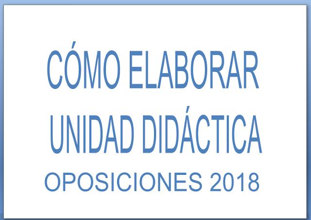 CÓMO HACER  UNIDAD DIDÁCTICA OPOSICIONES SECUNDARIA 2018