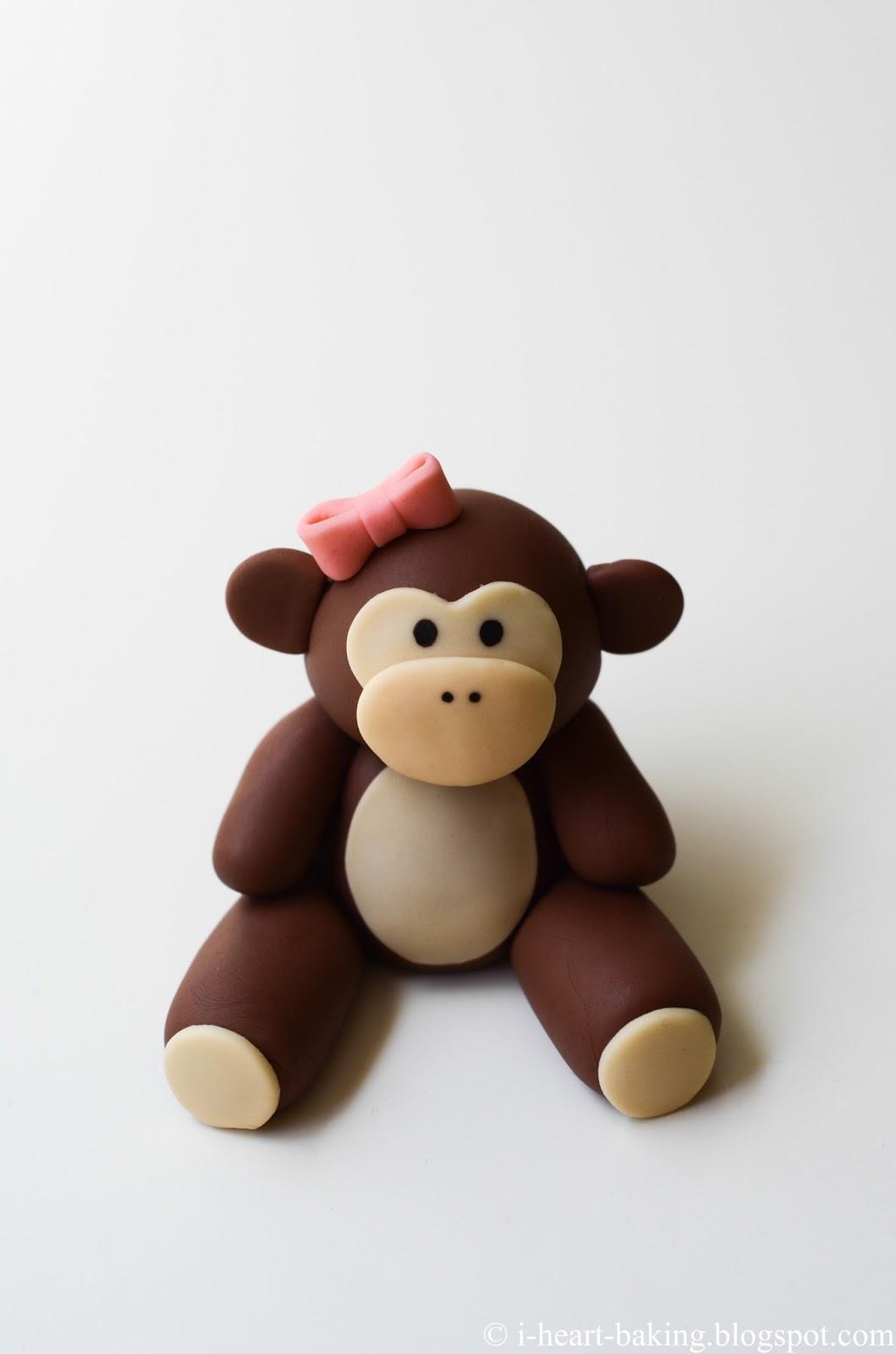heart baking monkey baby shower cake