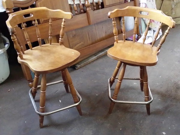 Vintage Pair of Maple Captains Mate Swivel Bar Stools - Oklahoma City Craigslist Garage Sales