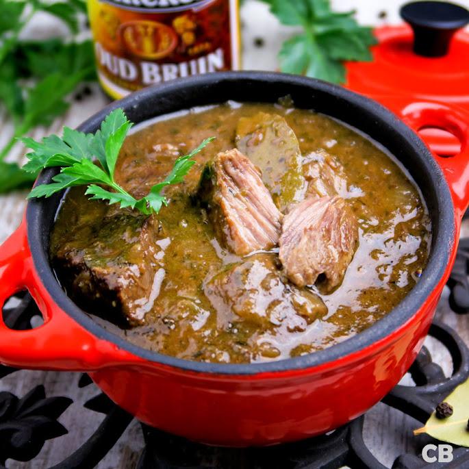 Wildstoofpotje van mals hertenvlees in een saus met oud bruin bier.