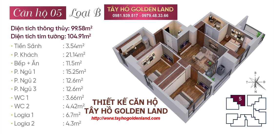 Hình ảnh Thiết kế căn hộ Tây Hồ Golden Land Căn 05 - Loại B