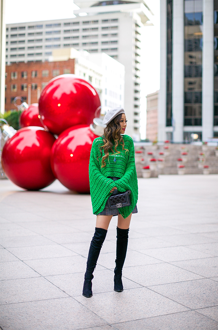 free people CAUGHT UP CROCHET TOP, green bell sleeve top, hat attack wool beret, chanel boy bag, endless rose plaid skirt, over the knee boots, kendra scott Damon Pendant Necklace, holiday outfit idea, san francisco fashion blog, san francisco street style