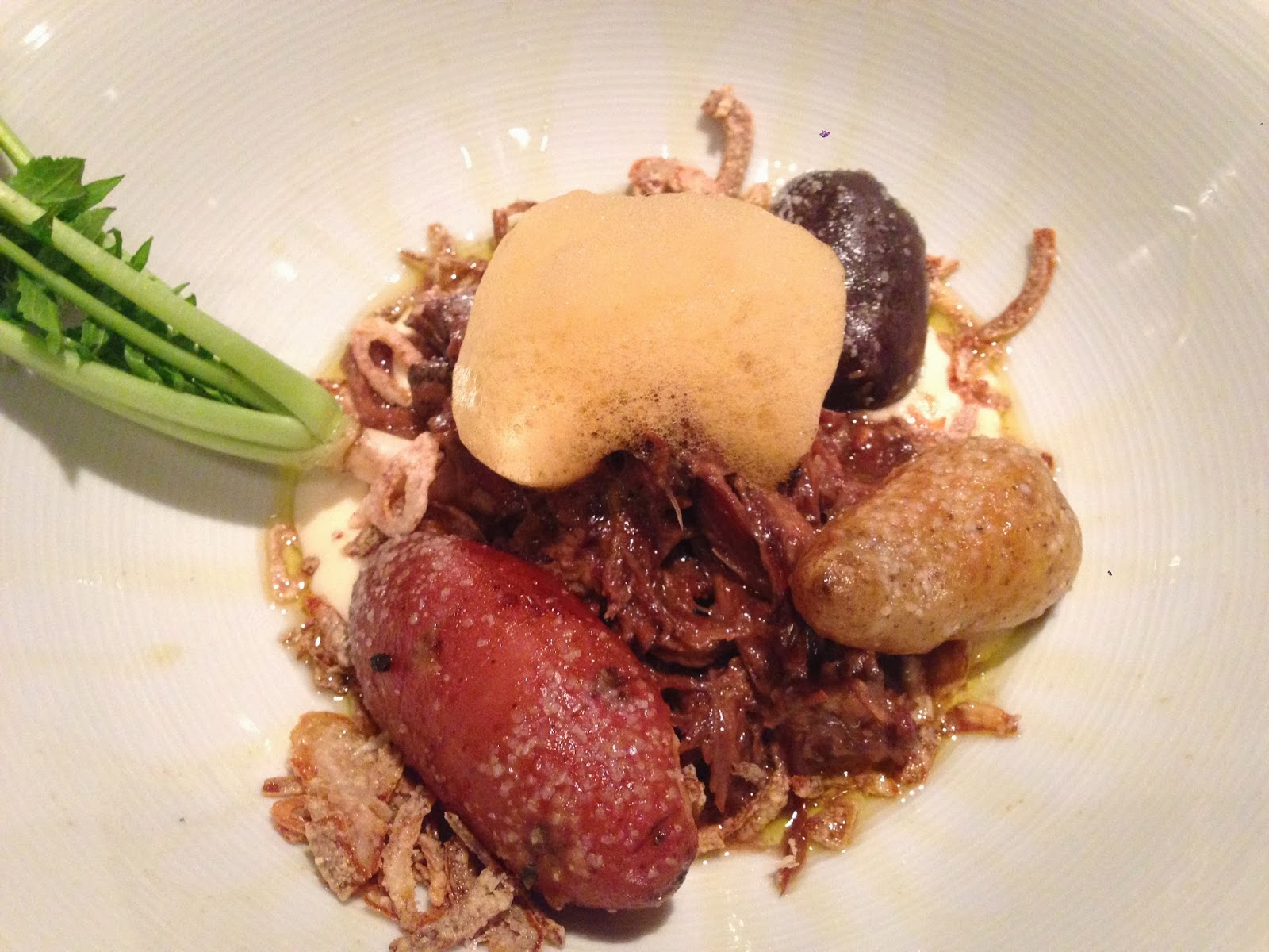 Lamb Neck Bourguinon, Charred Celery Root Puree, Confit Fingerling Potatoes, Mushroom Oil, Carrot Foam