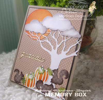 fall squirrel scene card side view