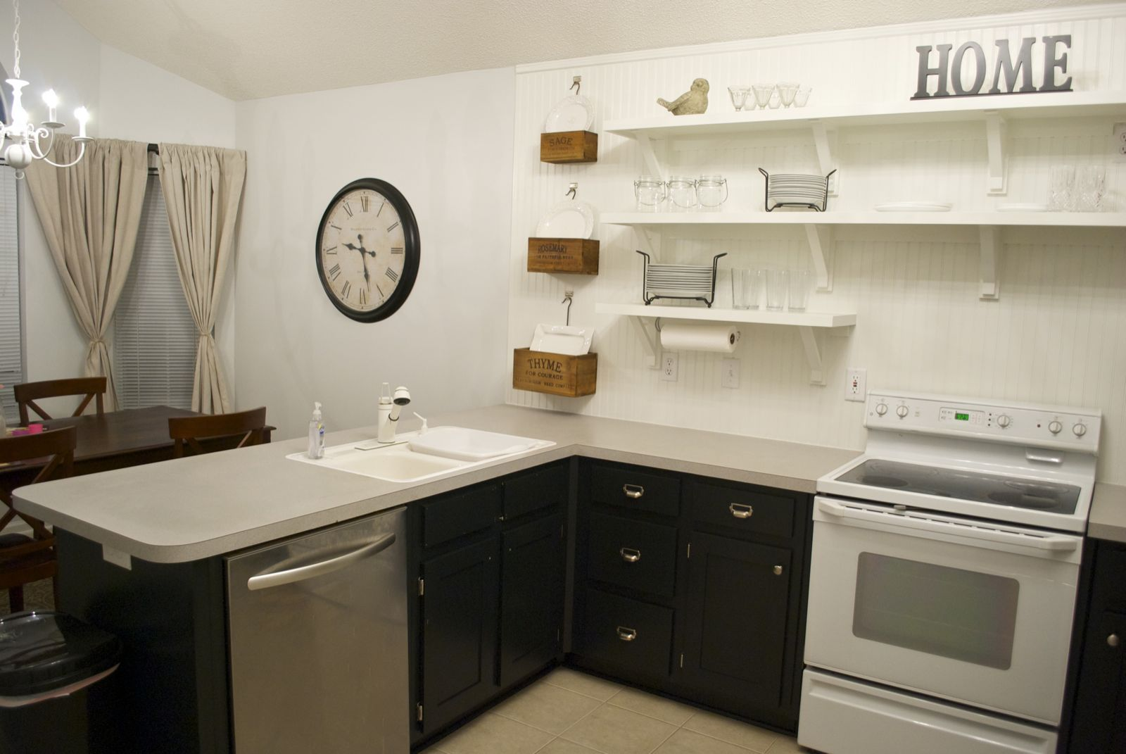 Kitchens with Open Upper Cabinets and Shelving