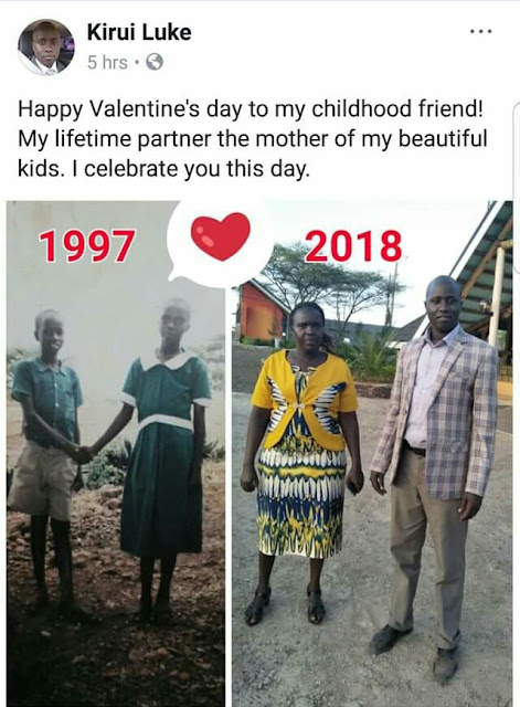 Valentine Couple of the year? Check out before and after photos of childhood friends who became husband and wife