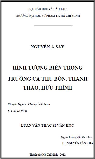 Hình tượng biển trong trường ca Thu Bồn, Thanh Thảo, Hữu Thỉnh