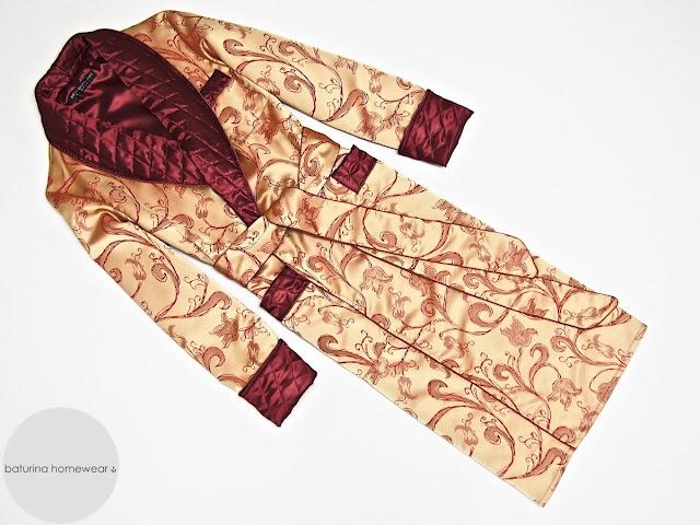 Edler Luxus Hausmantel Paisley Seide langer englischer Morgenmantel gesteppt gefüttert Dressing Gown