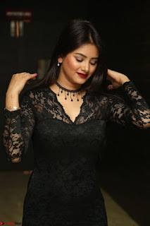 Actress Monica in spicy transparent Black Top at O Pilla Nee Valla Movie Audio Launch Feb 2017 093.JPG