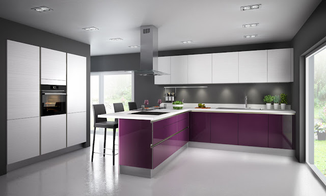 cocina-color-berenjena-con-pared-gris
