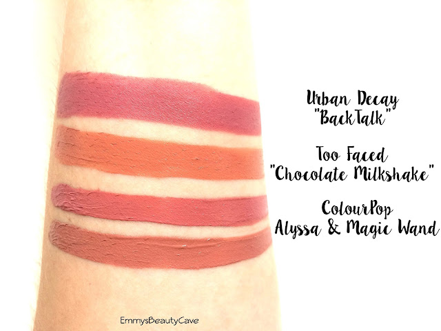 Lipstick Swatches Urban Decay BackTalk, Too Faced Chocolate Milkshake, ColourPop Ultra Satin Lips