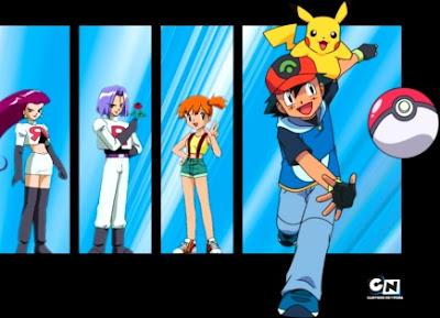 Dibujo de Pokémon con Ash, Pikachu y otros