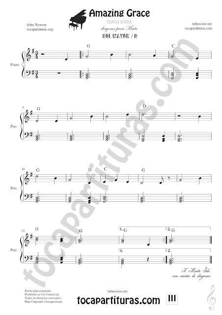 Amazing Grace partitura de Piano en Sol Mayor Easy Sheet Music for Piano in G