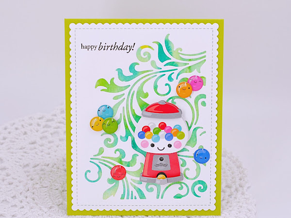 Birthday Card with Watercolor Background