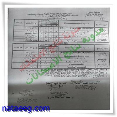 جدول إمتحانات الشهادة الابتدائيه بمحافظة المنيا 2017 الترم الاول (صباحى ومسائى)