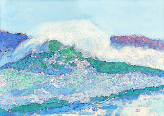 """Big Wave At Pemaquid Point"" - 14""  x 20"" - Watercolor By Paul Sherman"
